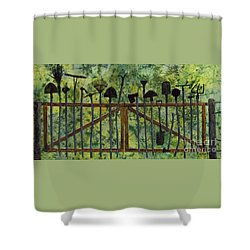 Shower Curtain featuring the painting Garden Tools by Hailey E Herrera