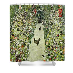 Garden With Chickens Shower Curtain by Gustav Klimt
