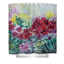 Shower Curtain featuring the painting Garden With Reds by Joanne Smoley