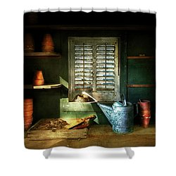 Shower Curtain featuring the photograph Gardener - The Potters Shed by Mike Savad