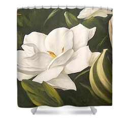 Shower Curtain featuring the painting Gardenia by Natalia Tejera