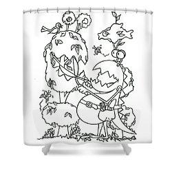 Gardening Monster Shower Curtain