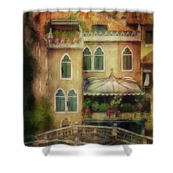 Shower Curtain featuring the digital art Gardening Venice Style by Lois Bryan