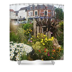 Shower Curtain featuring the photograph Gardens At Albert Train Station In France by Therese Alcorn
