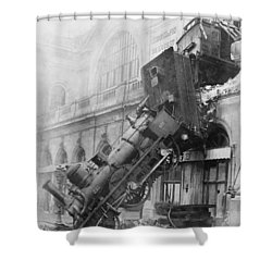 Gare Montparnasse Train Wreck 1895 Shower Curtain by Photo Researchers