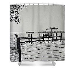 Shower Curtain featuring the drawing Garlic Island Lake Winnebago by Jack G  Brauer