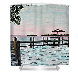 Shower Curtain featuring the painting Garlic Island On Lake Winnebago by Jack G  Brauer