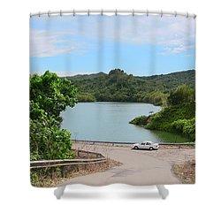 Garzas Lake Road Shower Curtain