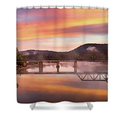 Gasconade River Sunrise Shower Curtain by Jae Mishra