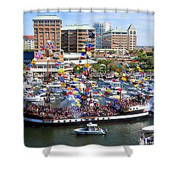 Gasparilla And Harbor Island Florida Shower Curtain by David Lee Thompson