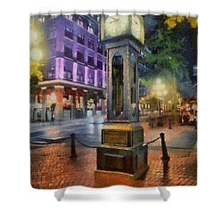 Shower Curtain featuring the digital art Gastown Sreamclock 1 by Jim  Hatch