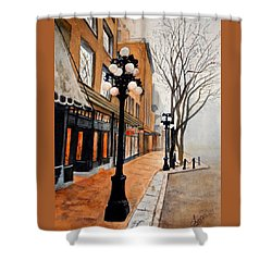 Shower Curtain featuring the painting Gastown, Vancouver by Sher Nasser