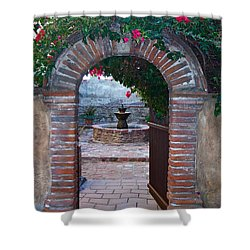 Gate To The Sacred Garden And Bell Wall Mission San Juan Capistrano California Shower Curtain