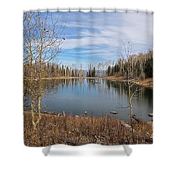 Gates Lake Shower Curtain by Cindy Murphy - NightVisions