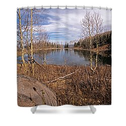 Gates Lake Ut Shower Curtain by Cindy Murphy - NightVisions