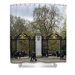 Shower Curtain featuring the photograph Gates To St James Park by Shirley Mitchell