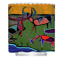 Gathering Herd Shower Curtain