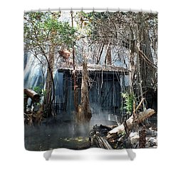 Gator Marsh Shower Curtain by Christy Ricafrente