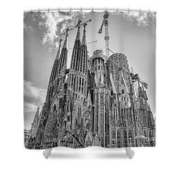 Gaudi La Sagrada Blk Wht Shower Curtain