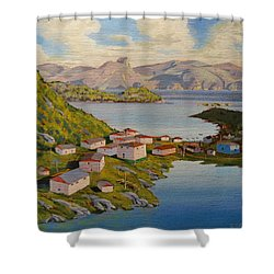 Gaultois Village Newfoundland Shower Curtain
