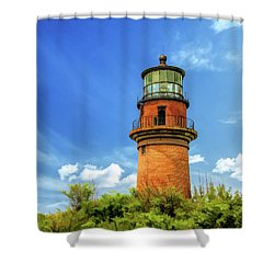 Shower Curtain featuring the painting Gay Head Lighthouse by Christopher Arndt