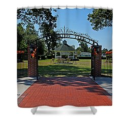 Shower Curtain featuring the photograph Gazebo At Celebration Park by Judy Vincent
