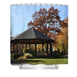 Gazebo At North Ridgeville - Autumn Shower Curtain