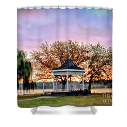 Shower Curtain featuring the photograph Gazebo Sunrise At Claytor Lake by Kerri Farley