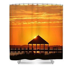 Shower Curtain featuring the photograph Gazebo Sunset by Robert Banach