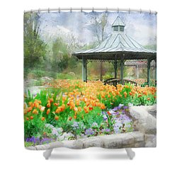 Shower Curtain featuring the digital art Gazebo With Tulips by Francesa Miller