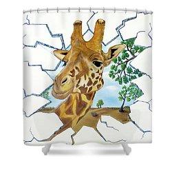 Gazing Giraffe Shower Curtain by Teresa Wing