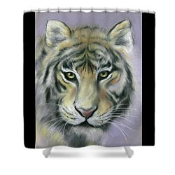 Shower Curtain featuring the pastel Gazing Tiger by MM Anderson