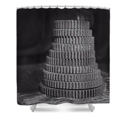 Gears In Black And White Shower Curtain