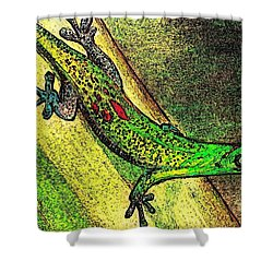 Gecko On The Green Shower Curtain