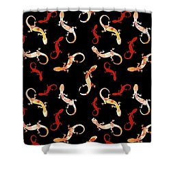 Shower Curtain featuring the mixed media Gecko Pattern by Christina Rollo