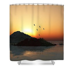 Geese And Sunset Shower Curtain by David Lane