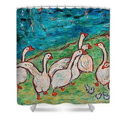 Shower Curtain featuring the painting Geese By The Pond by Xueling Zou