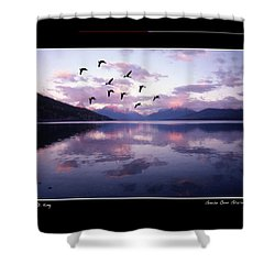 Geese Over Glacier Lake Poster Shower Curtain