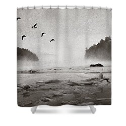 Geese Over Great Bay Shower Curtain