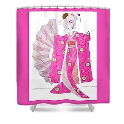 Geisha Barbie -- Whimsical Geisha Girl Drawing Shower Curtain