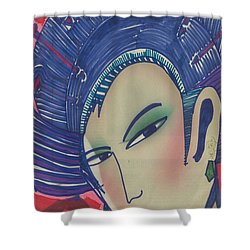 Shower Curtain featuring the painting Geisha  Dragonlady by Don Koester