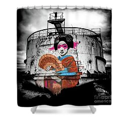 Shower Curtain featuring the photograph Geisha Graffiti by Adrian Evans
