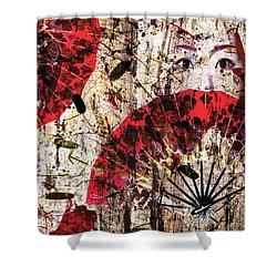Geisha Grunge Shower Curtain