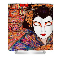 Shower Curtain featuring the painting Geisha by Rae Chichilnitsky