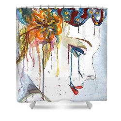 Geisha Soul Watercolor Painting Shower Curtain