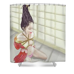 Shower Curtain featuring the mixed media Geisha by TortureLord Art