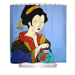 Shower Curtain featuring the painting Geisha With Fish by Stephanie Moore