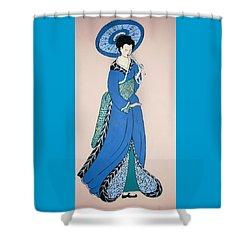Shower Curtain featuring the painting Geisha With Parasol by Stephanie Moore