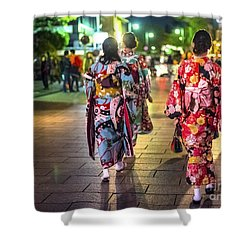 Shower Curtain featuring the photograph Geishas In A Rush by Pravine Chester
