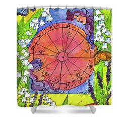 Shower Curtain featuring the painting Gemini by Cathie Richardson